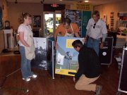 Sami, David, Ed, and Ronnie helping to install the exhibit.